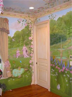 Home sweet home princess murals for Fairy garden mural