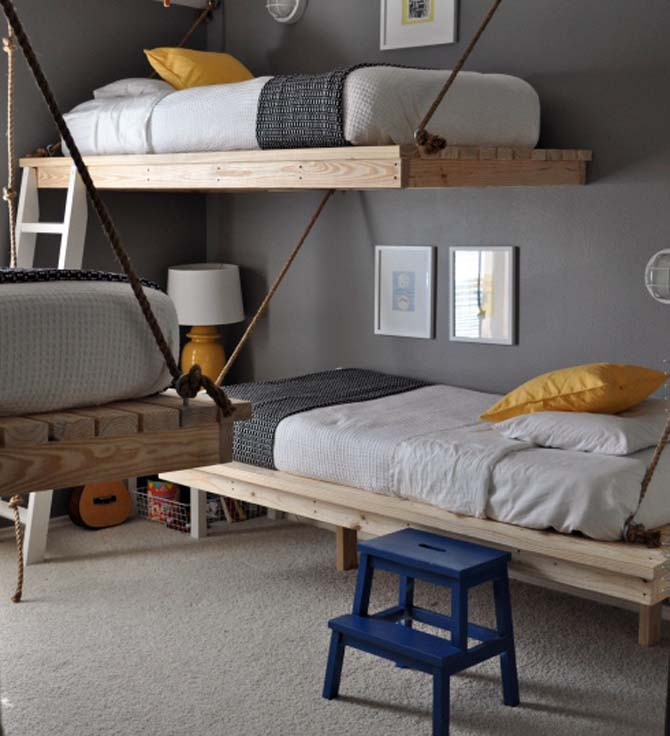 three kids in a room try a trio of hanging beds design dazzle. Black Bedroom Furniture Sets. Home Design Ideas