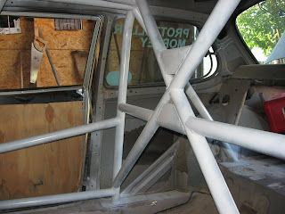 Rally car roll cage, in our Saab 99 EMS