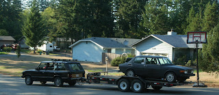 Range Rover LWB Towing our Saab 99 EMS Rally Car on a 3000lb Trailer, before Wild West Rally 2009