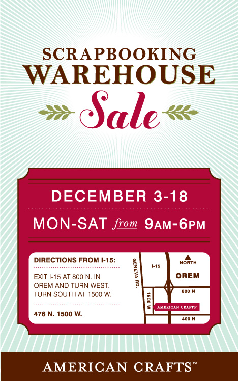 American Crafts Warehouse Sale Grand Opening Pebbles Inc