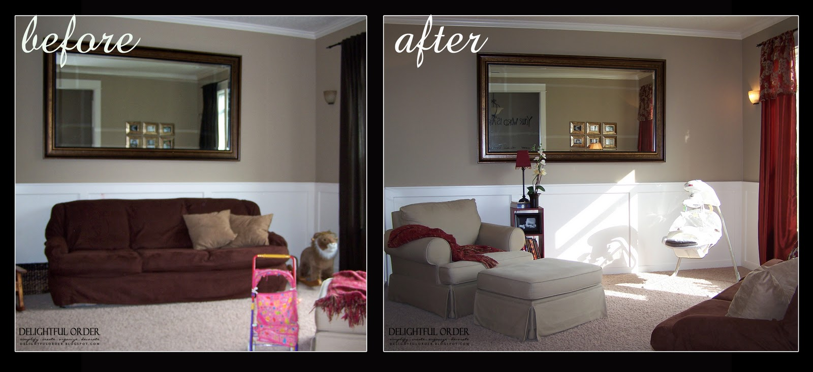 Delightful order home makeover part 2 living room for Room makeover