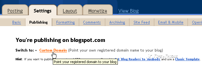 Add Custom Domain Name in Blogger Blog