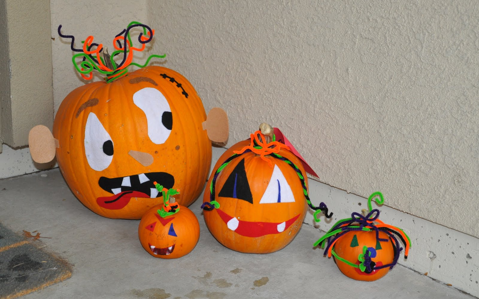 Cute Decorated Carved Pumpkins Decorating For Kids
