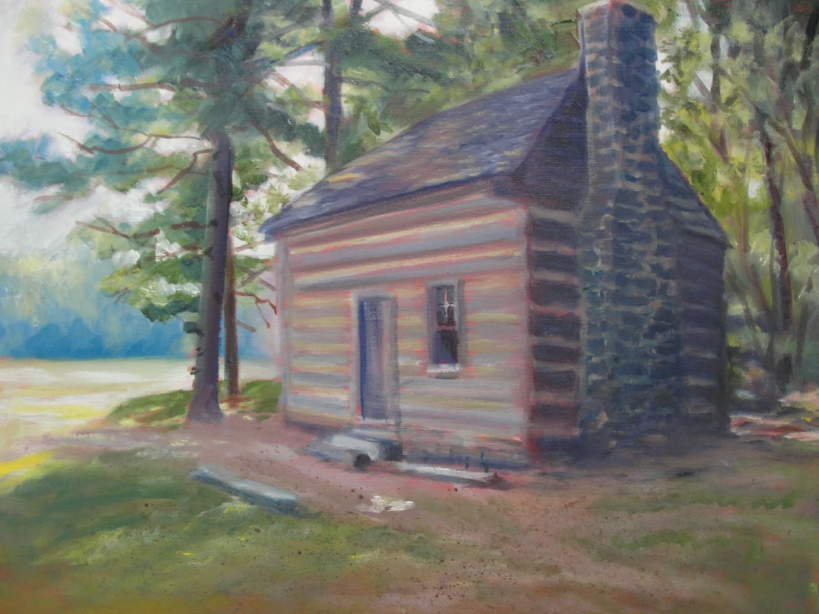 Log cabin in the woods painting - Polly Woods Cabin Ii