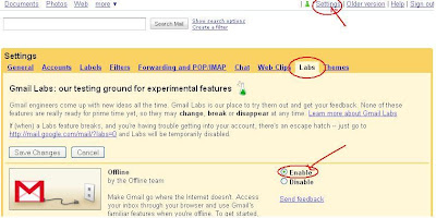 Google's Offline feature with Google Gears-How to enable