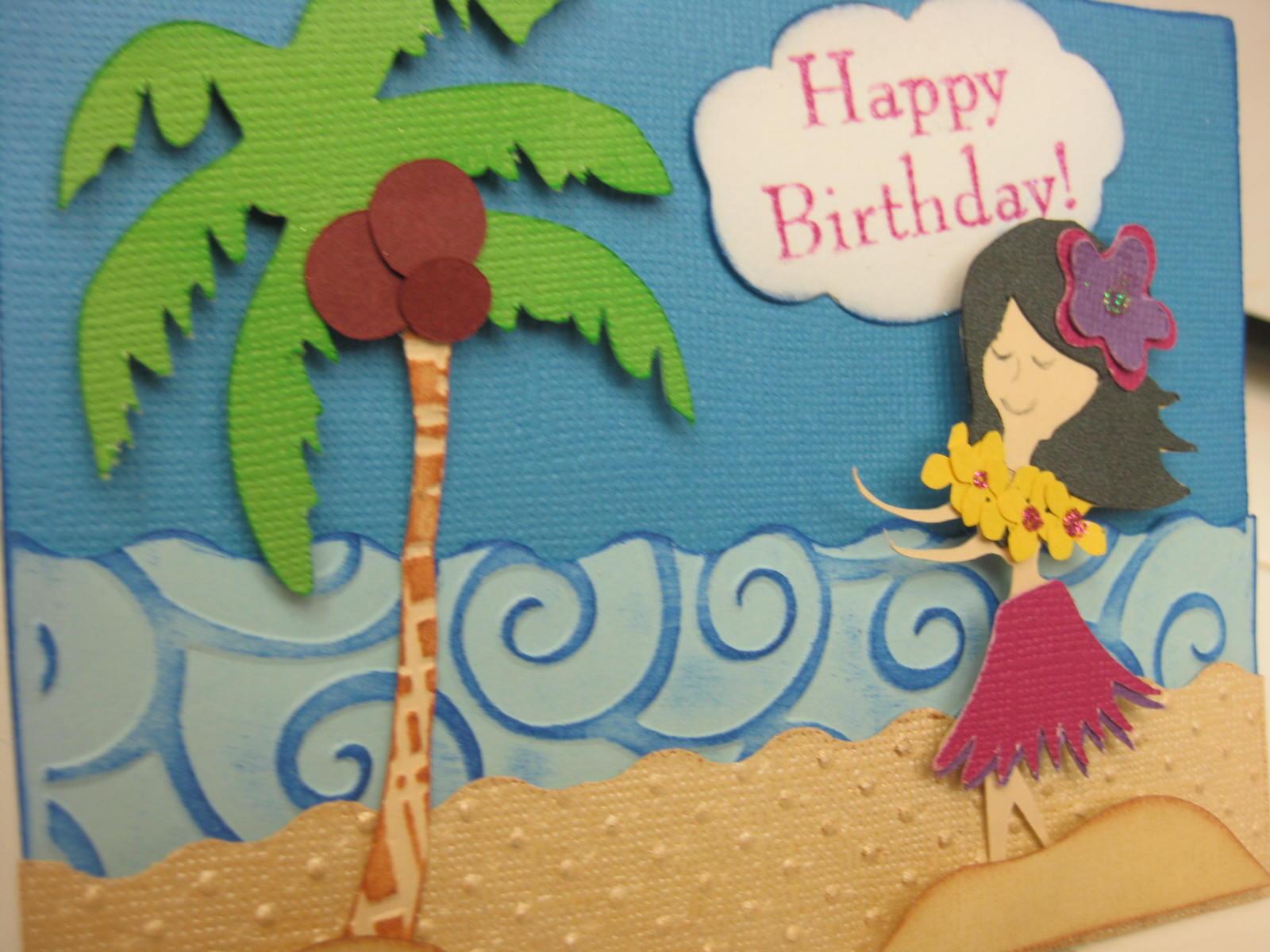 spontaneously us hawaii themed birthday card, Birthday card
