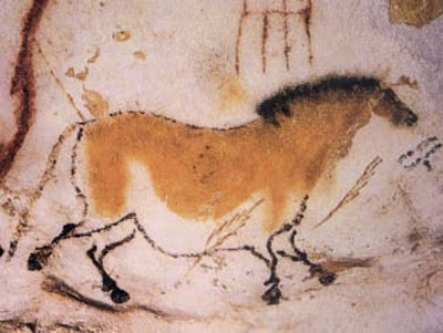 Cave painting in the cave at Lascaux, in the Dordogne region of southern France