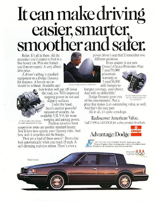 "This is an original 1990. Dodge Dynasty Ad Measures 11"" x 8 1/4"""
