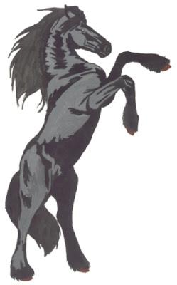 Mes amis les chevaux dessin frison cabre - Cheval qui saute dessin ...