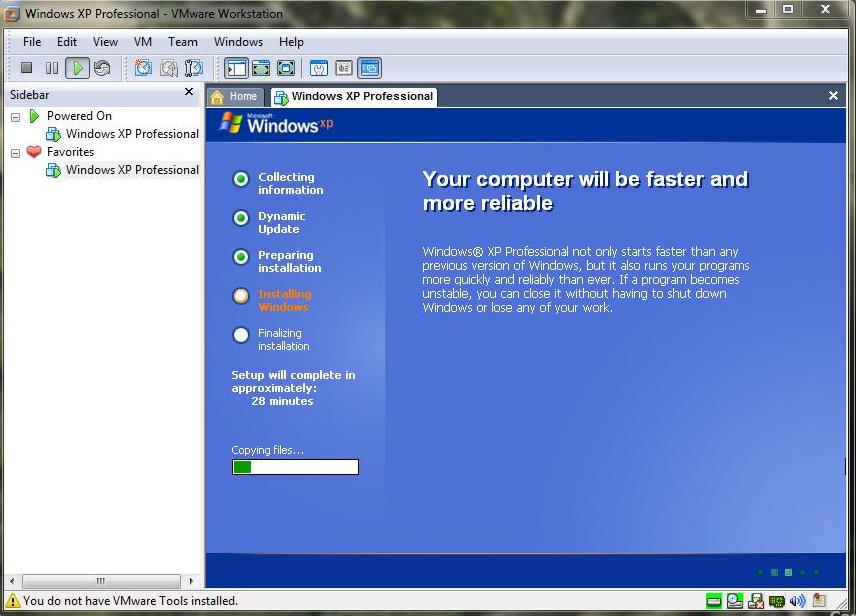 31. Virtual melakukan restart ulang tanda Windows XP telah sukses