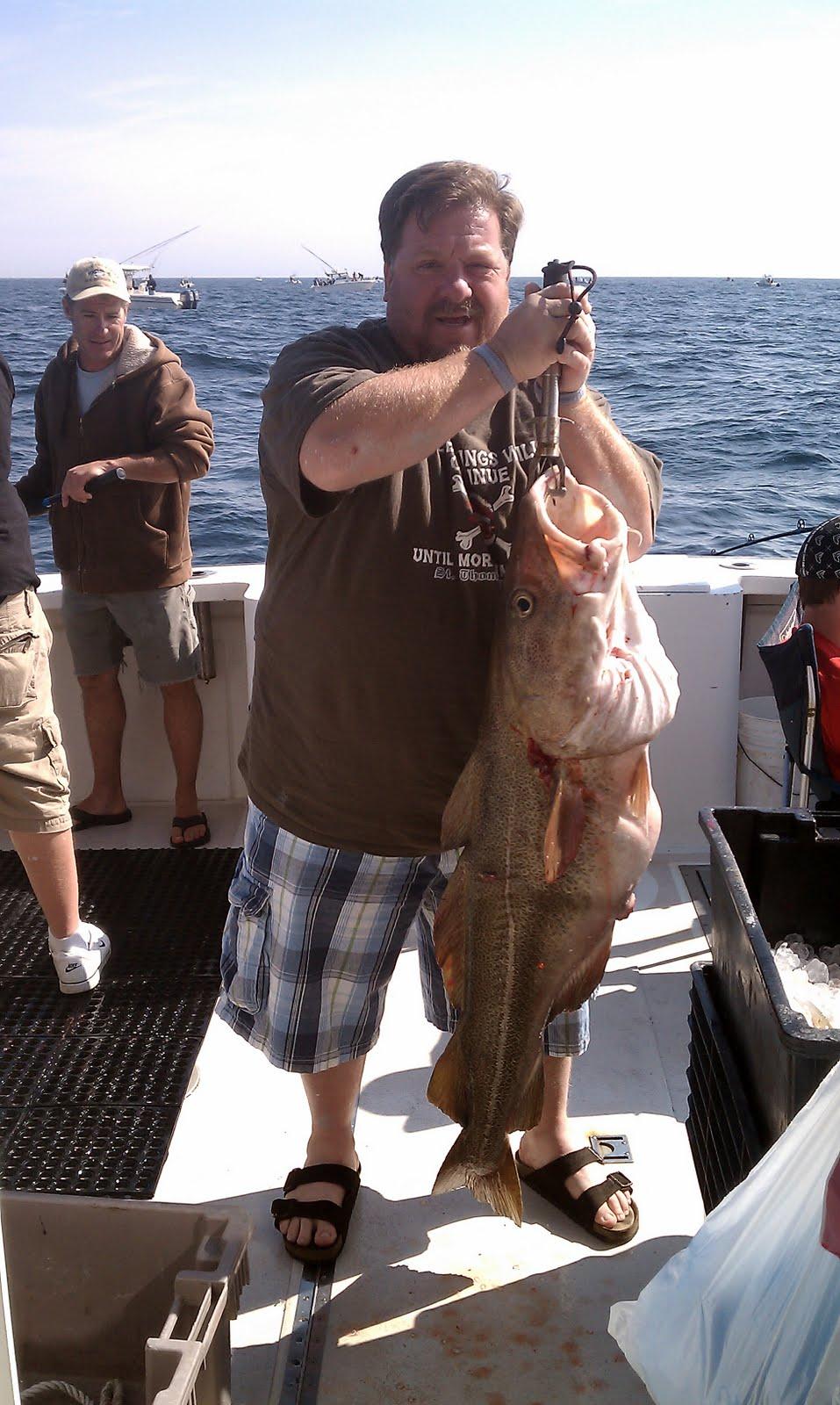 Ma deep sea fishing reports big cod striped bass day for Mass fishing report