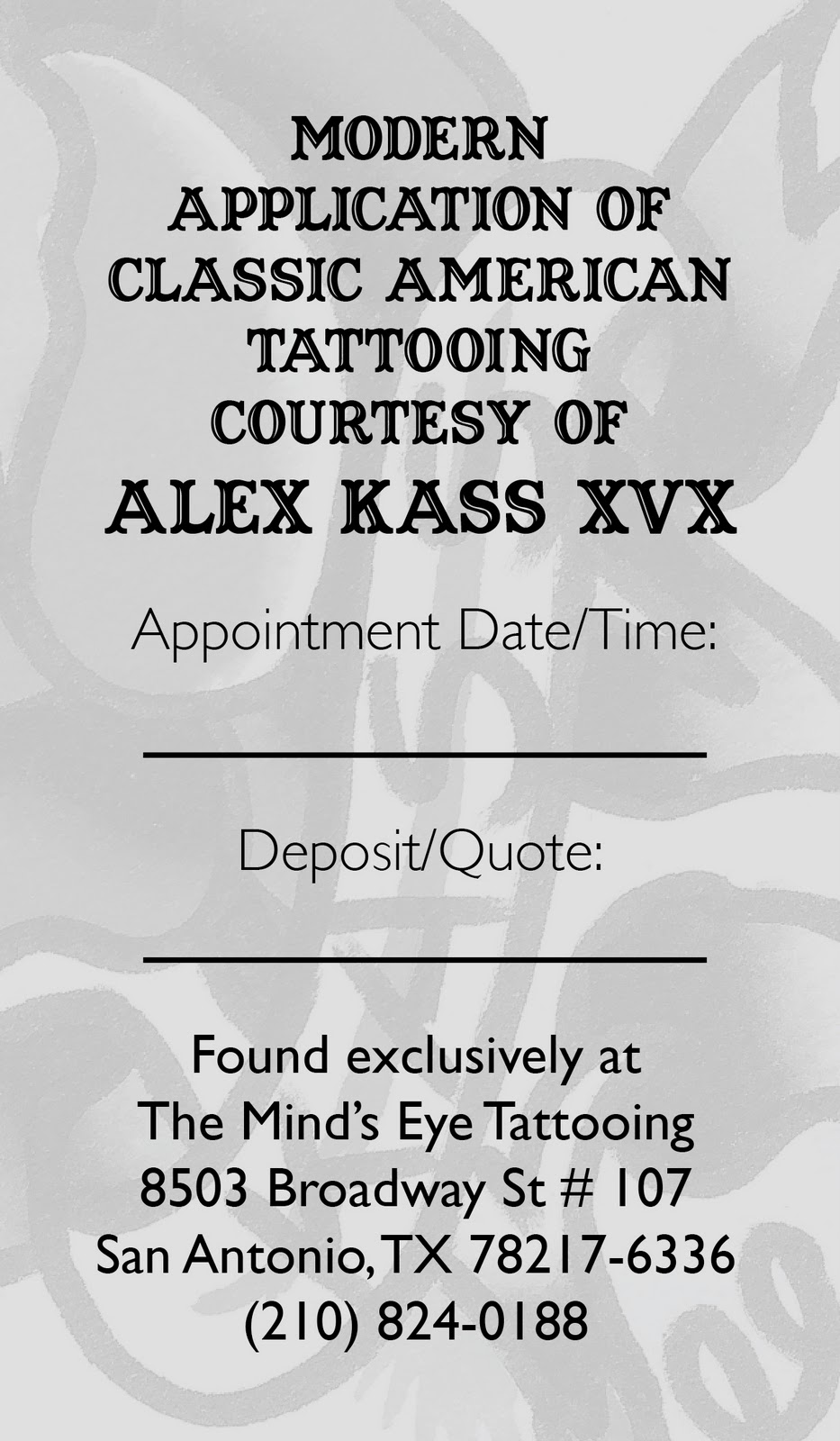 Krista ashley creative alex kass xvx business cards with his relocation to a new tattoo shop minds eye tattoo in san antonio texas alex kass was in need of a new business card as well magicingreecefo Images
