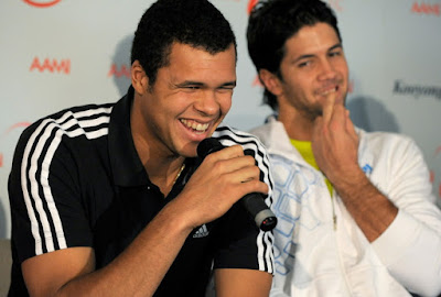 Black Tennis Pro's Jo-Wilfried Tsonga speaks to media about wrist injury prior to AAMI Classic Kooyong