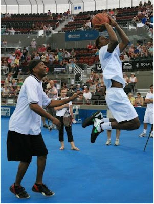 Black Tennis Pro's Gael Monfils and Leroy Loggins playing basketball in Brisbane
