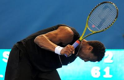 Black Tennis Pro's Gael Monfils Brisbane International Round 2 vs. Marc Giquel