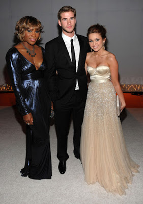 Black Tennis Pro's Serena Williams at 2010 Oscars with Miley Cyrus and Liam Hemsworth