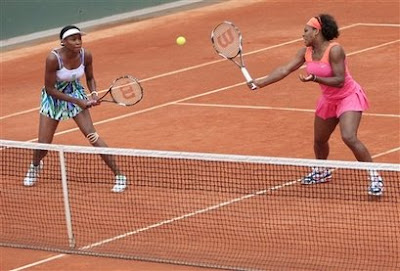 Black Tennis Pro's Venus and Serena Williams 2009 French Open Doubles Match