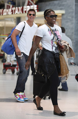 Black Tennis Pro's Serena Williams at Los Angeles International Airport