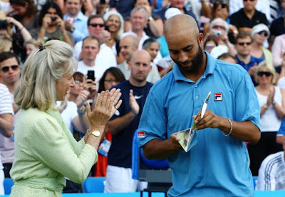Black Tennis Pro's James Blake runner up AEGON Finals trophy presentation