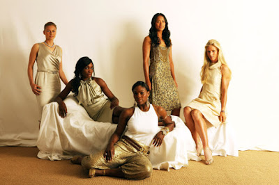 Black Tennis Pro's(L-R) Vera Zvonareva, Venus Williams, Serena Williams, Anne Keothavong, Ana Ivanovic and Elena Dementieva pose during a studio session at The Ralph Lauren Sony Ericsson WTA Tour Pre-Wimbledon Party hosted by Richard Branson at The Roof Gardens on June 18, 2009 in London, England.