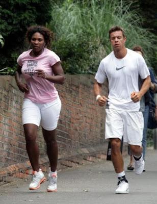Black Tennis Pro's Serena Williams jogging in London before 2009 Wimbledon