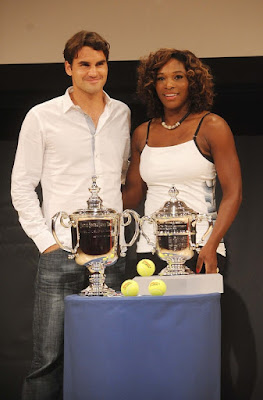 Black Tennis Pro's Roger Federer and Serena Williams at 2009 U.S. Open Draw Presentation