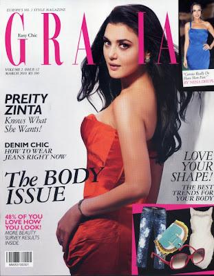 Preity Zinta sizzles on  Grazia Magazine March 2010 issue