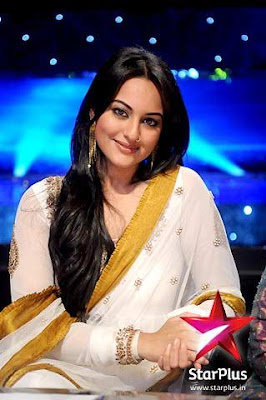 sonakshi sinha in white saree