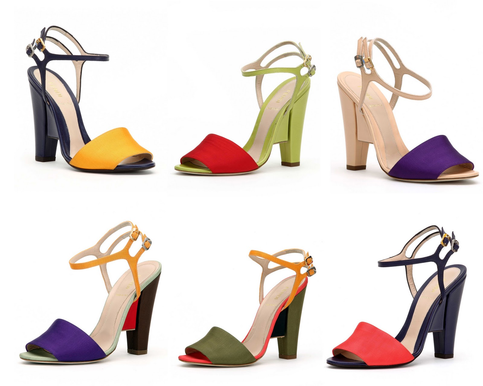 I love the shape of these Fendi heels, and all the color choices make me ...