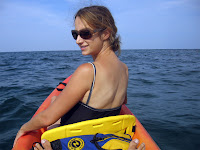 Lauren in the kayak out near the Huron wreck