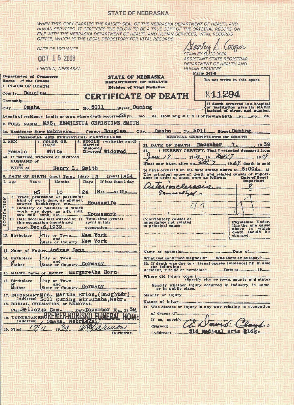 Erion Krumwied And Related Families Genealogy Death Certificate