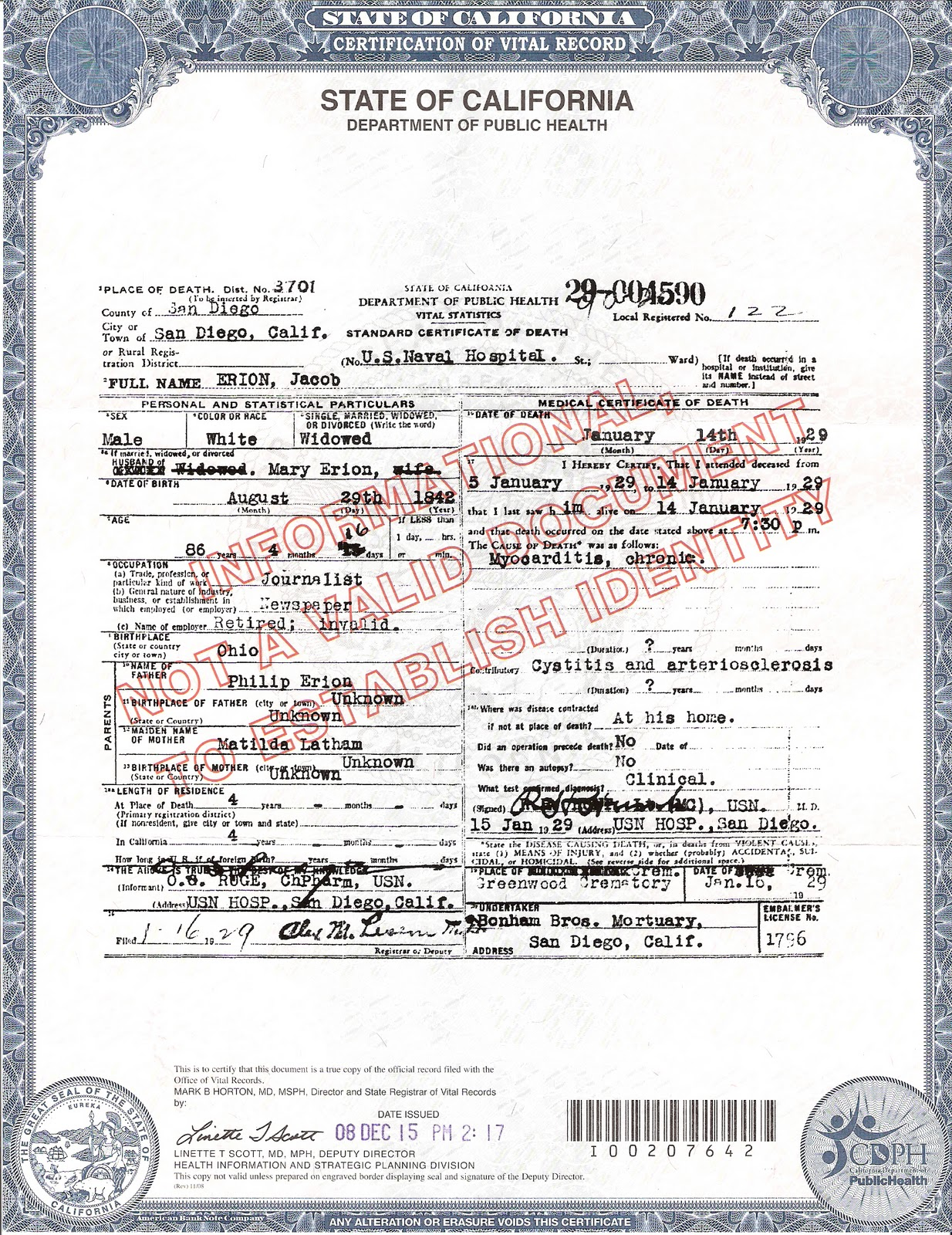 Erion krumwied and related families genealogy death certificate for jacob b erion 1betcityfo Images