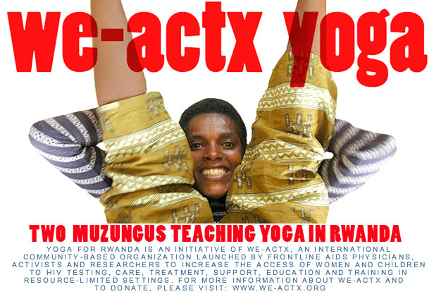 two muzungus teaching yoga in rwanda