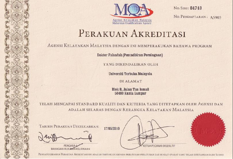 The Lonely Journey: PhD (BA) from OUM is fully accredited by MQA