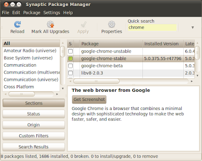 Install Google Chrome for Linux using Synaptic Package Manager