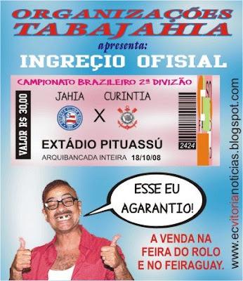 Organizações TABAJAHIA - Bahia(Jahia) vende ingressos Bahia x Corinthians