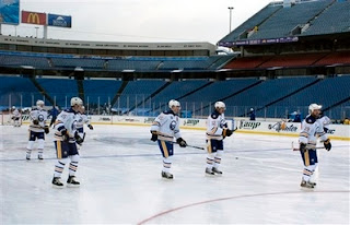 The Buffalo Sabres takes to the ice at Ralph Wilson Stadium in Orchard Park, NY on Monday, Dec 31, 2007, the Sabres play the Pittsburgh Penguins in the Winter Classic outdoor game on Tuesday, Jan 1, 2008 AP Don Heupel