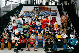 NHL team mascots pose together for a group photo before the 56th NHL All-Star Game (Photo by Kevin C. Cox/Getty Images
