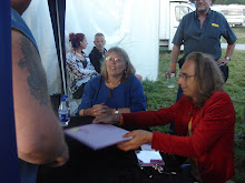 Judy Dyble signing my record.