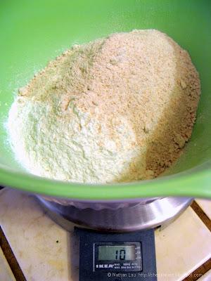 homemade whole wheat tortilla mixing flour