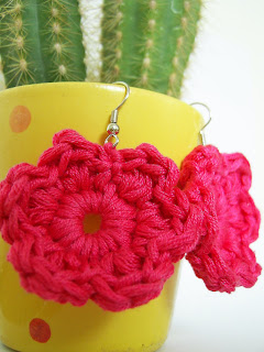 crochet earrings jewelry jewellery handmade unique flower floral pink present gift fashion KooKoo