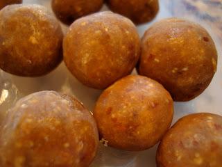 Close up of defrosting Vegan Peanut Butter Vanilla Balls