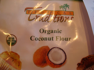Close up of bag of coconut flour
