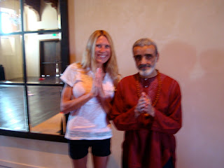 Woman standing with Dharma Mittra