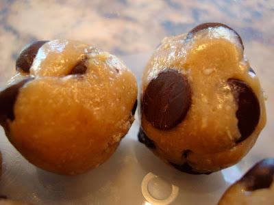 Two Raw Vegan Chocolate Chip Cookie Dough Balls