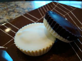 Vegan White Chocolate Chocolate-Peanut Butter Cup and half and half peanut butter cup on plate