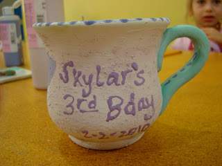 Painted mug saying Skylar's 3rd Bday