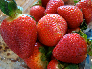 Close up of strawberries in container