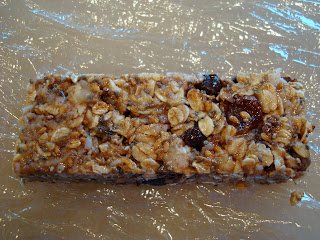 Overhead of one side No-Bake Vegan Peanut Butter Protein Bar